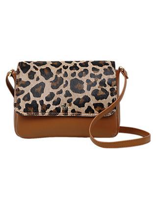 Tula Faux Leopard Leather Small Flapover Cross Body Bag Tan