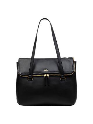 Tula Originals Large Leather Double Zip Flapover Tote Bag Black