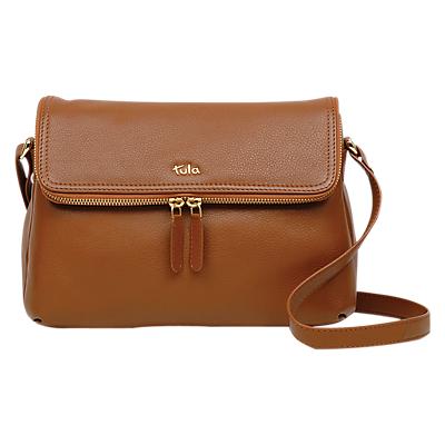 Tula Originals Medium Leather Double Zip Flapover Cross Body Bag