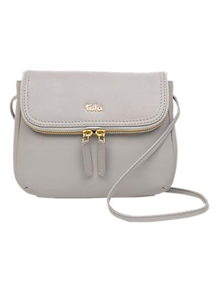 Tula Originals Small Leather Double Zip Flapover Cross Body Bag