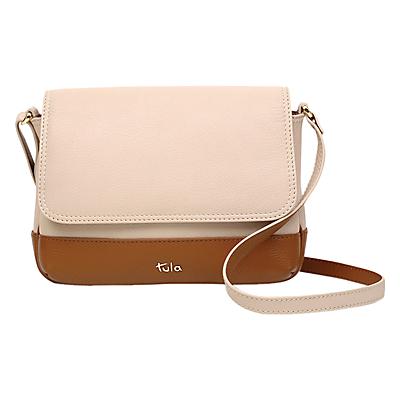 Tula Nappa Originals Small Leather Flapover Cross Body Bag, Cream