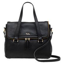 Tula Originals Medium Leather Double Zip Flapover Grab Bag Online At Johnlewis