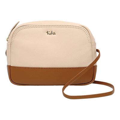 Tula Nappa Originals Small Leather Zip Cross Body Bag, Cream