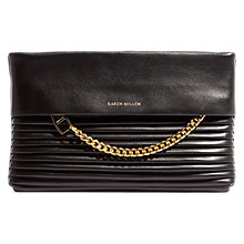 Buy Karen Millen Leather Textured Chain Zip Clutch Bag, Black Online at johnlewis.com