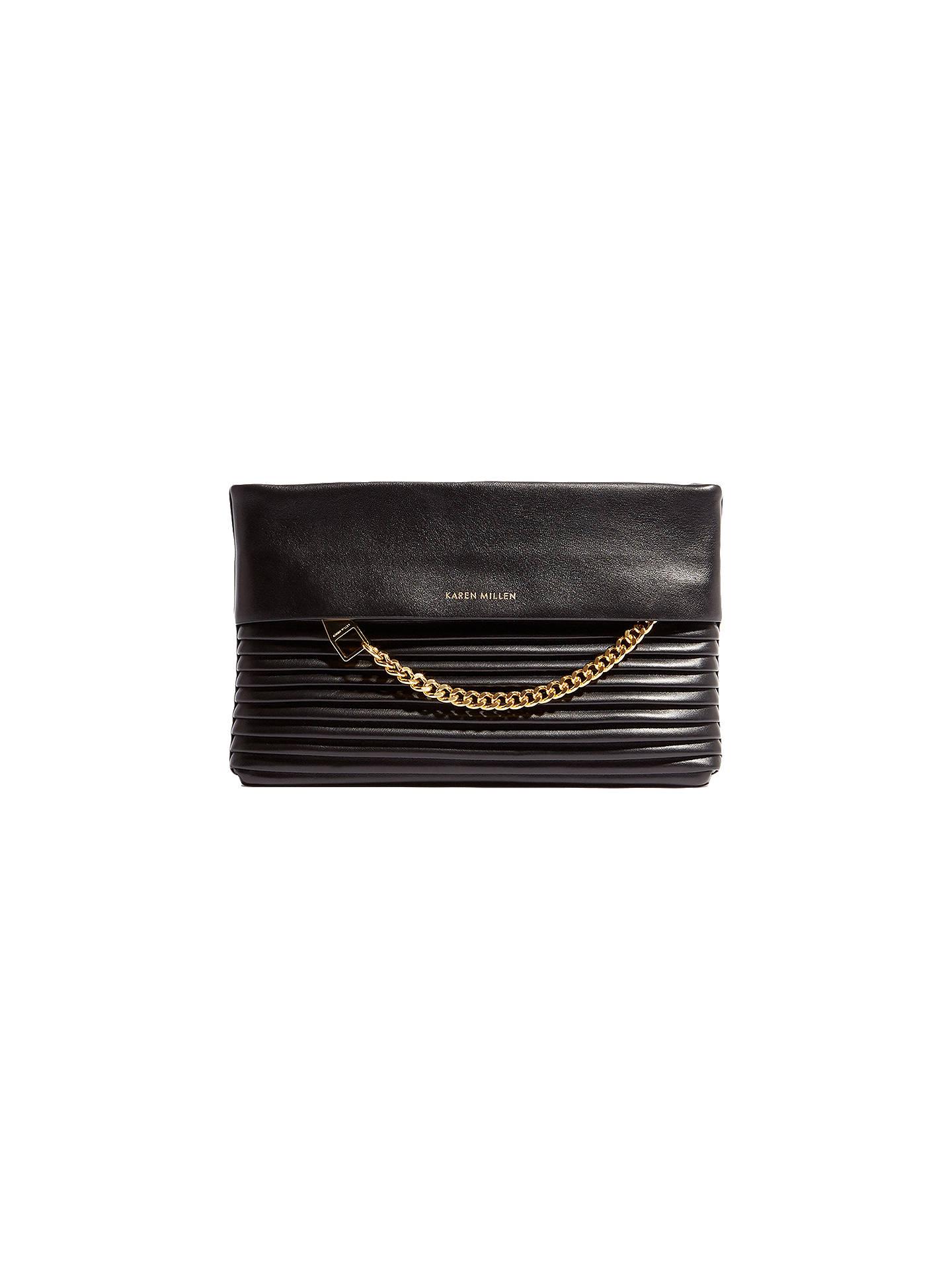 c125be9e1953 Buy Karen Millen Leather Textured Chain Zip Clutch Bag, Black Online at  johnlewis.com ...