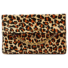 Buy Karen Millen Leather Chain Zip Clutch Bag, Leopard Print Online at johnlewis.com