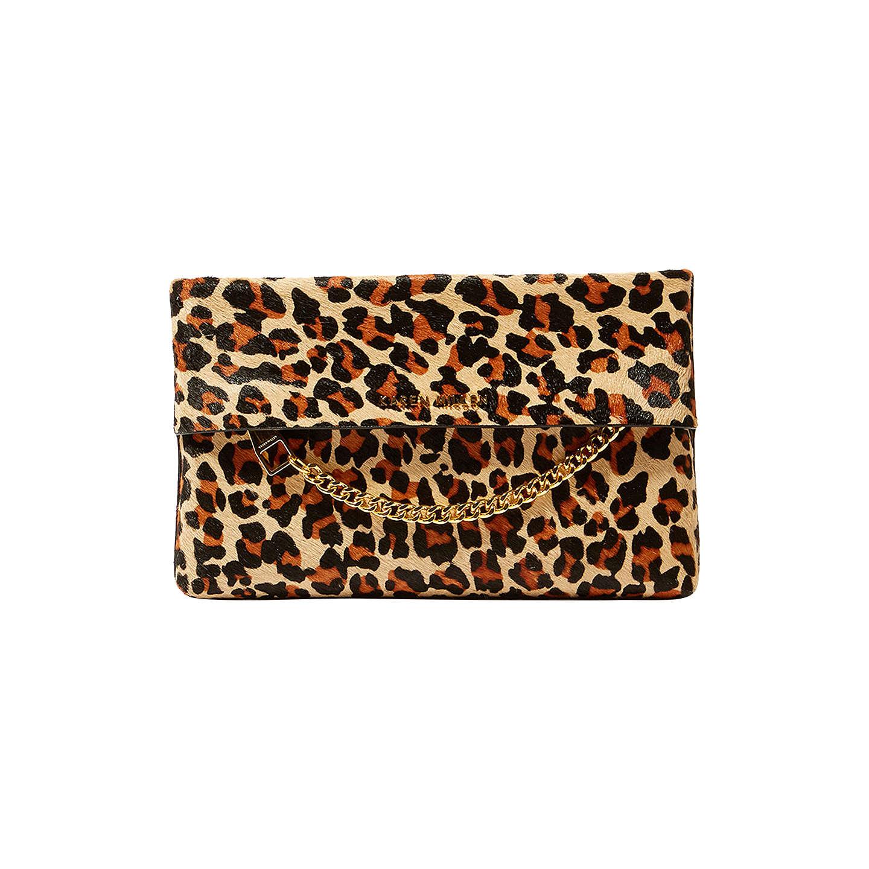 Karen Millen Leather Chain Zip Clutch Bag Leopard Print Online At Johnlewis