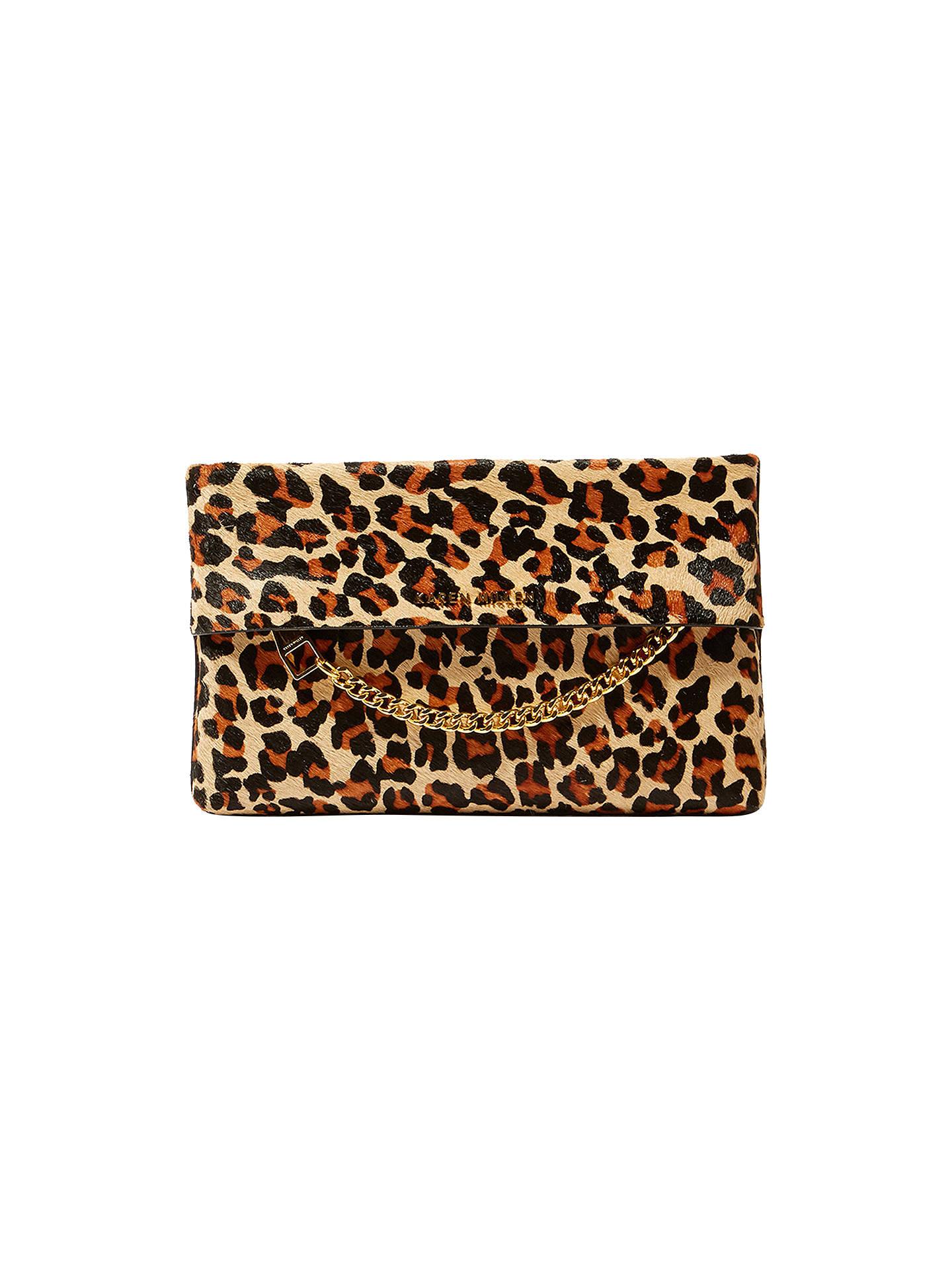 e9ee7f35456e Buy Karen Millen Leather Chain Zip Clutch Bag, Leopard Print Online at  johnlewis.com ...