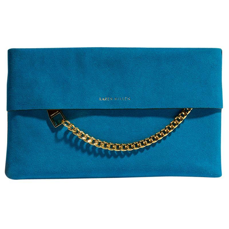 f358388cc9f0 Karen Millen Leather Chain Zip Clutch Bag, Blue Suede at John Lewis &  Partners
