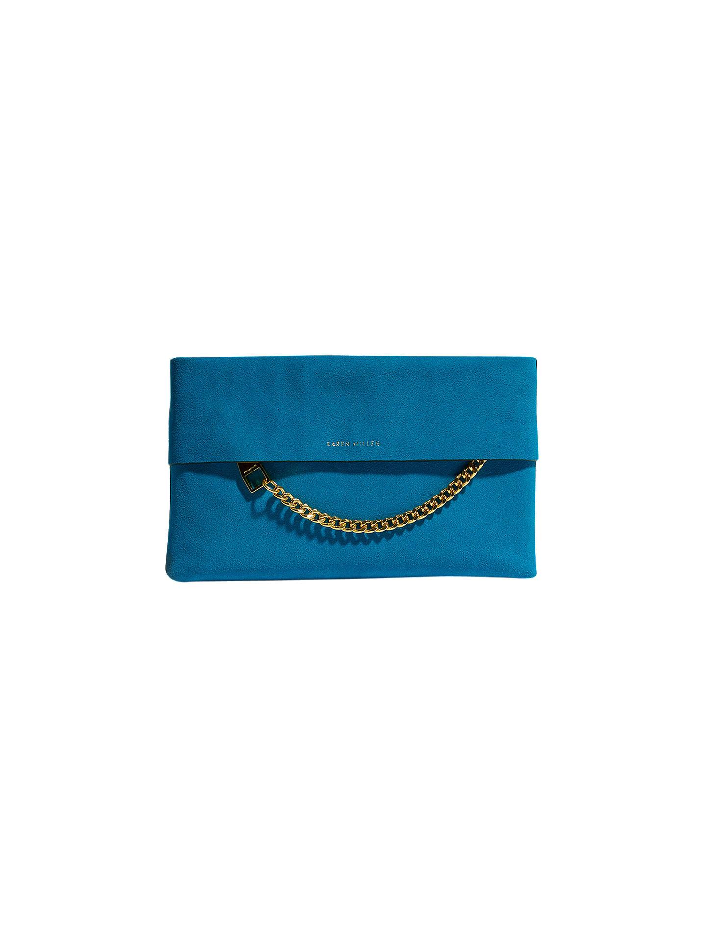 85fec81965f5 Buy Karen Millen Leather Chain Zip Clutch Bag, Blue Suede Online at  johnlewis.com ...