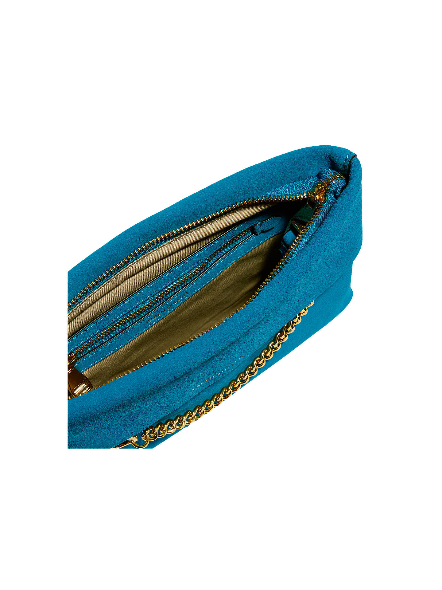 ff14afcec9ef ... Buy Karen Millen Leather Chain Zip Clutch Bag, Blue Suede Online at  johnlewis.com ...