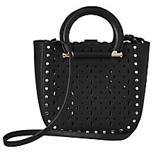 Buy Reiss Mayfair Leather Laser Cut Mini Tote Bag, Black Online at johnlewis.com