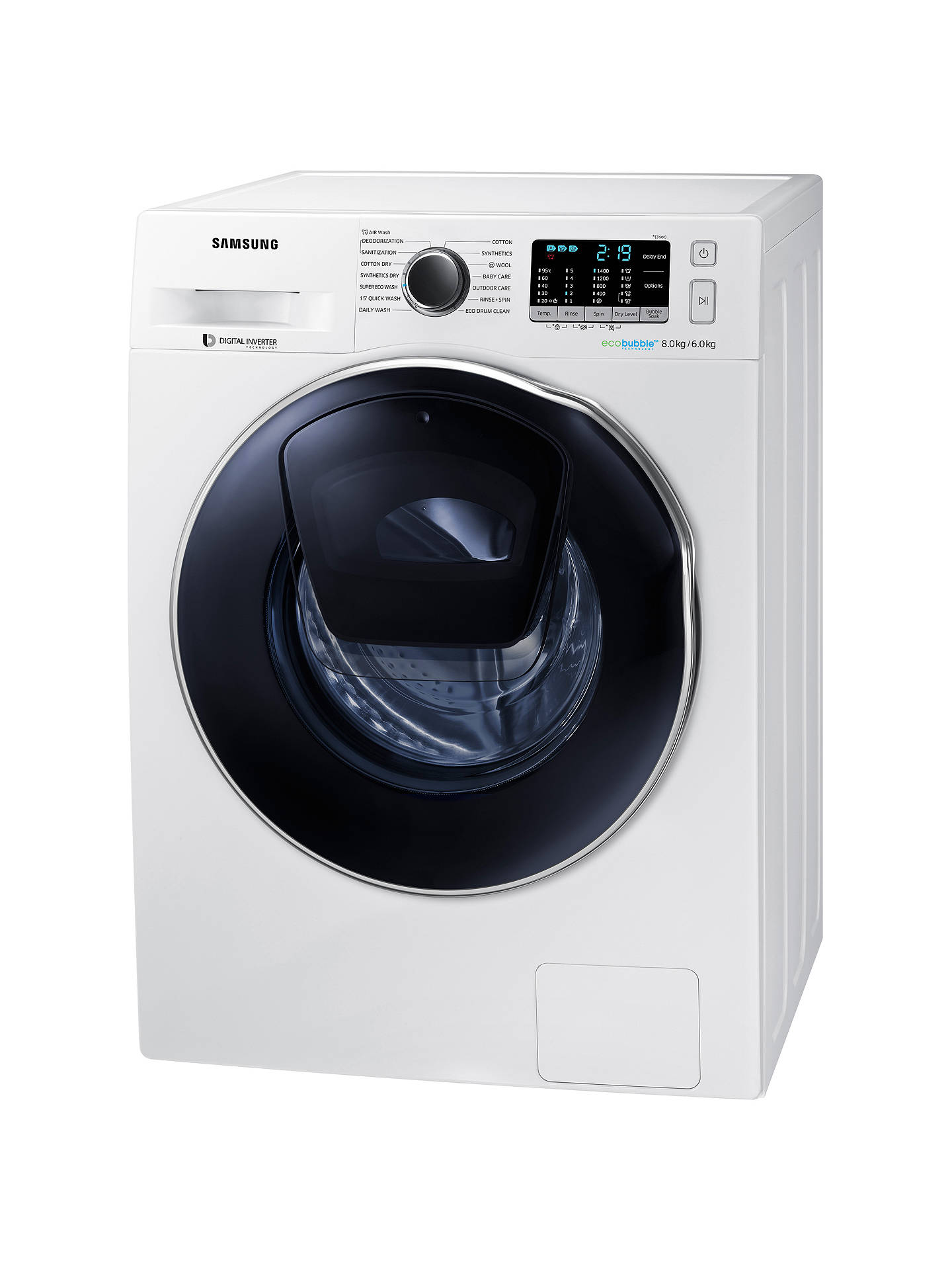 BuySamsung AddWash WD80K5B10OW/EU Freestanding Washer Dryer, 8kg Wash/6kg Dry Load, B Energy Rating, 1400rpm Spin, White Online at johnlewis.com