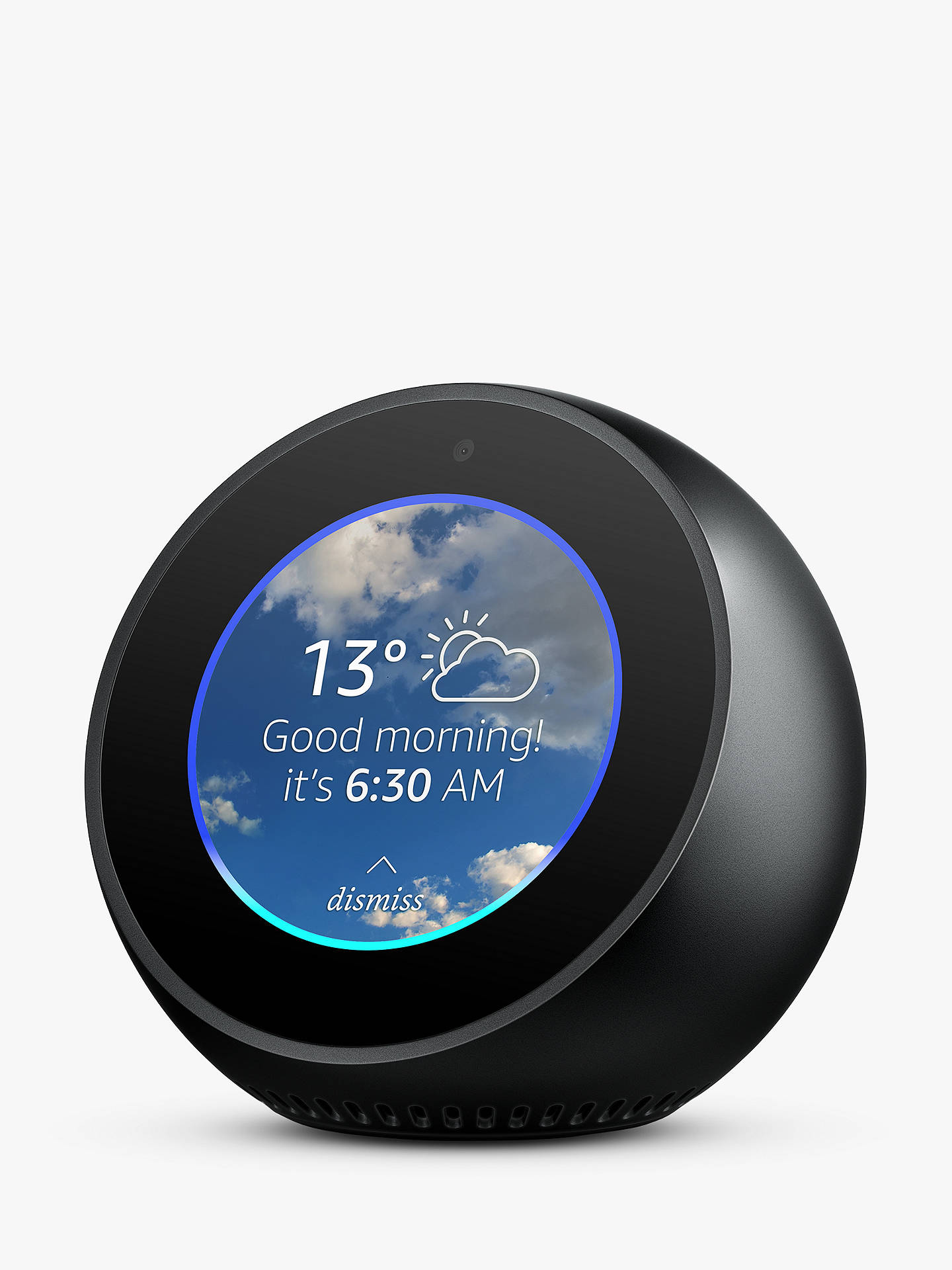 "BuyAmazon Echo Spot Smart Speaker with 2.5"" Screen & Alexa Voice Recognition & Control, Black Online at johnlewis.com"