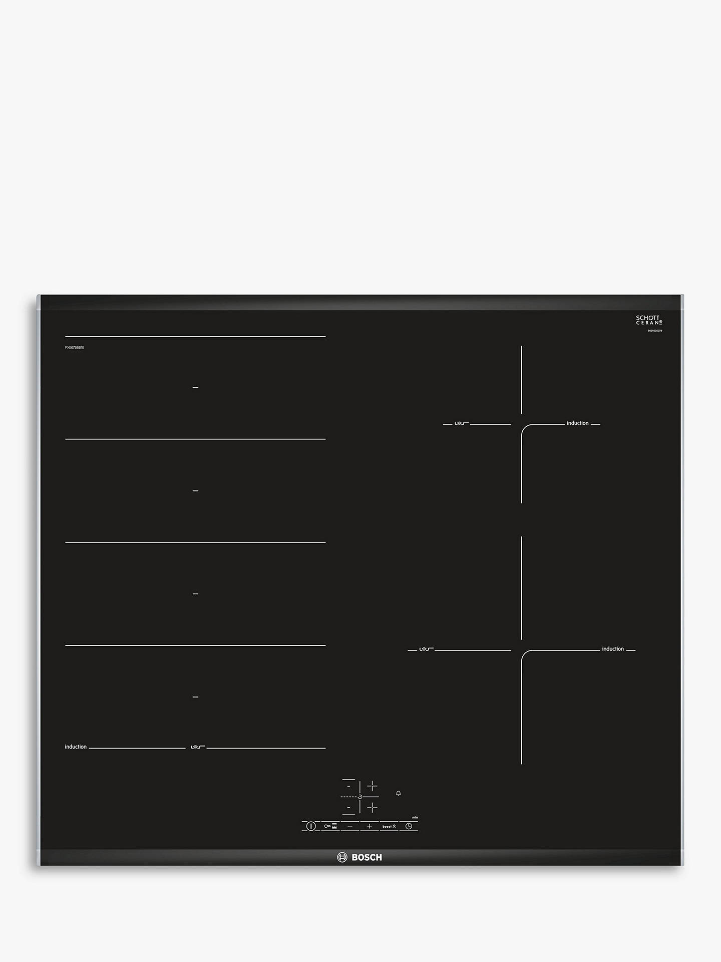 BuyBosch Serie 4 PXE675BB1E Induction Hob, Black Online at johnlewis.com