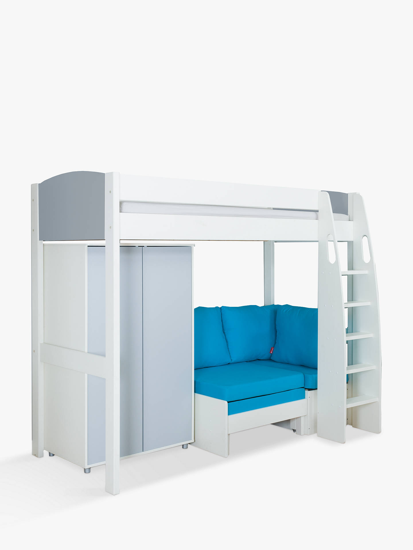 Buy Stompa Uno S Plus High-Sleeper Bed with Wardrobe and Chair Bed, Grey/Aqua Online at johnlewis.com