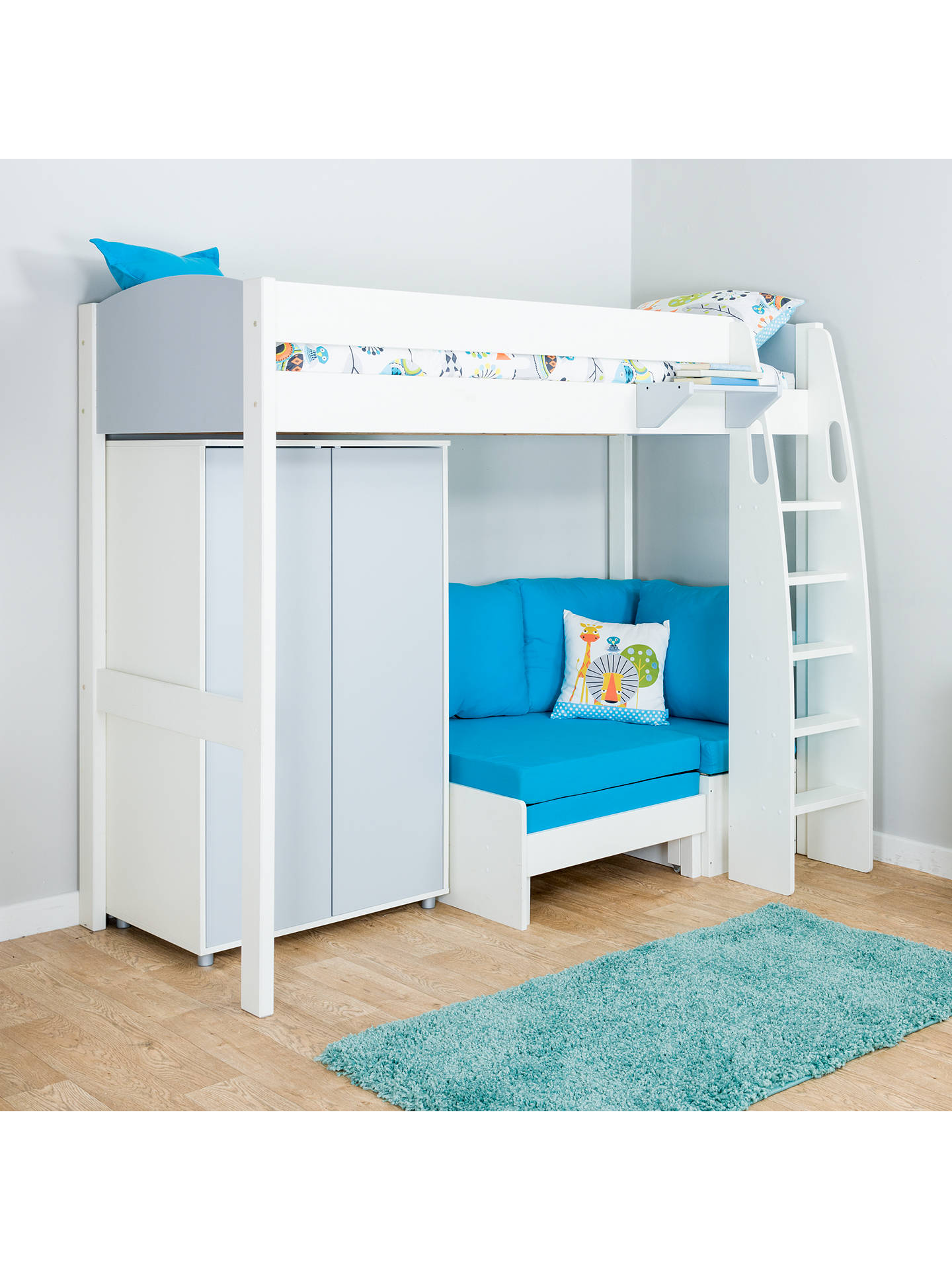 BuyStompa Uno S Plus High-Sleeper Bed with Wardrobe and Chair Bed, Grey/Aqua Online at johnlewis.com