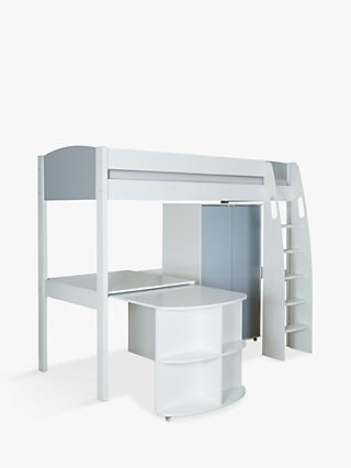 Stompa Uno S Plus High Sleeper Bed With Wardrobe And Pull Out Desk