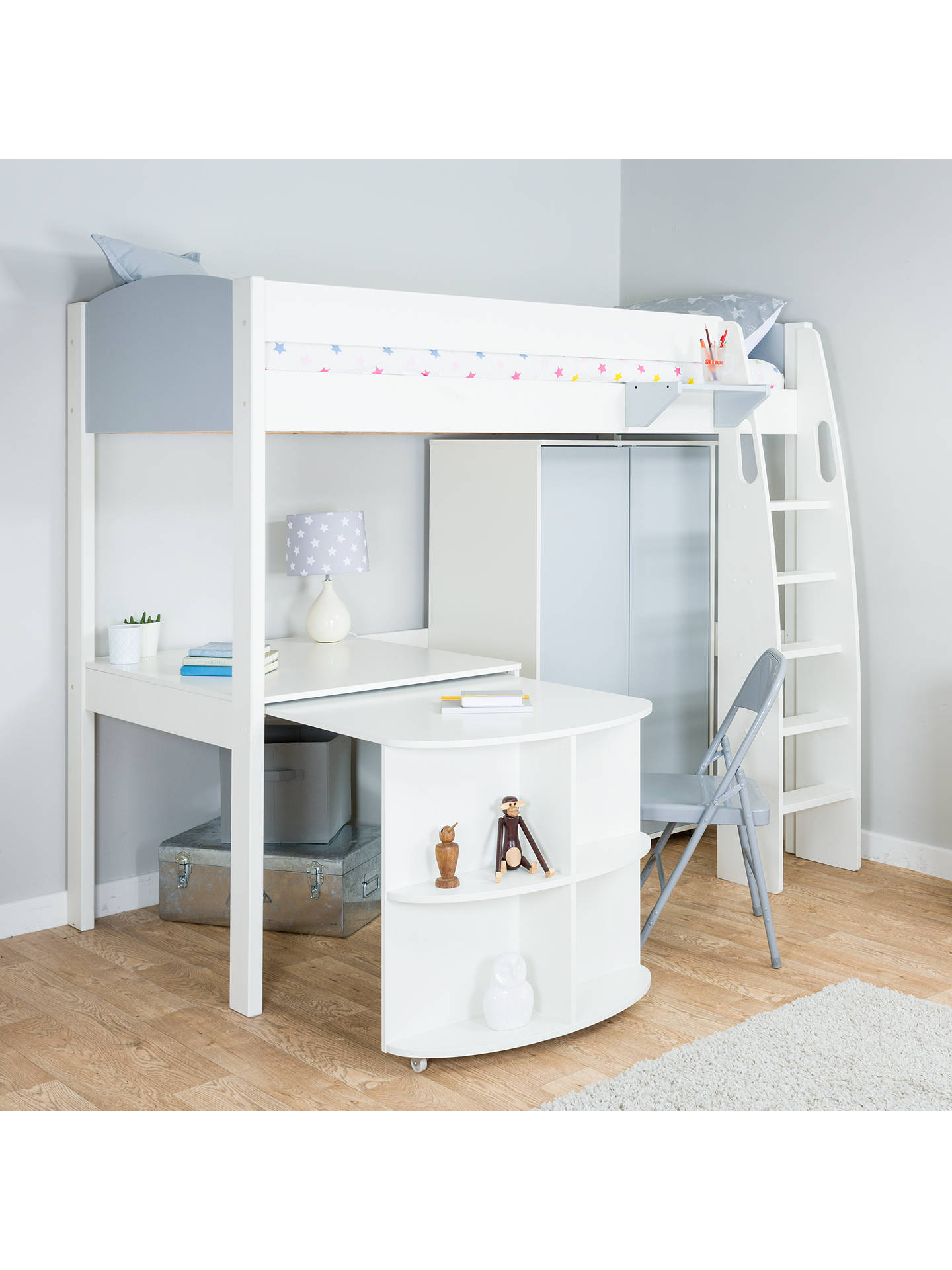 BuyStompa Uno S Plus High-Sleeper Bed with Wardrobe and Pull-Out Desk, Grey Online at johnlewis.com
