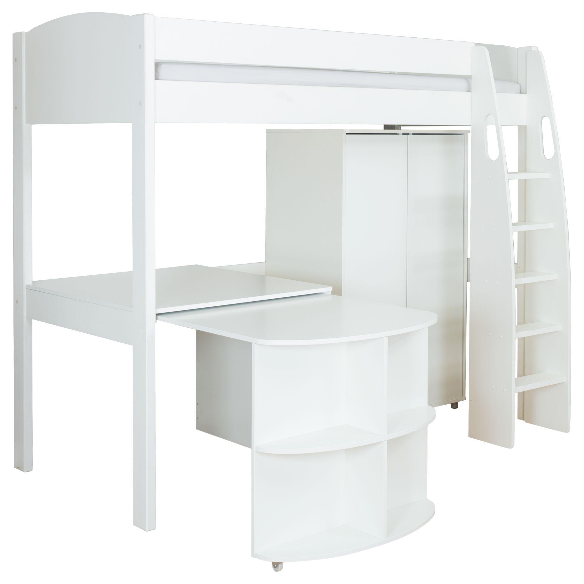 Stompa Stompa Uno S Plus High-Sleeper Bed with Wardrobe and Pull-Out Desk