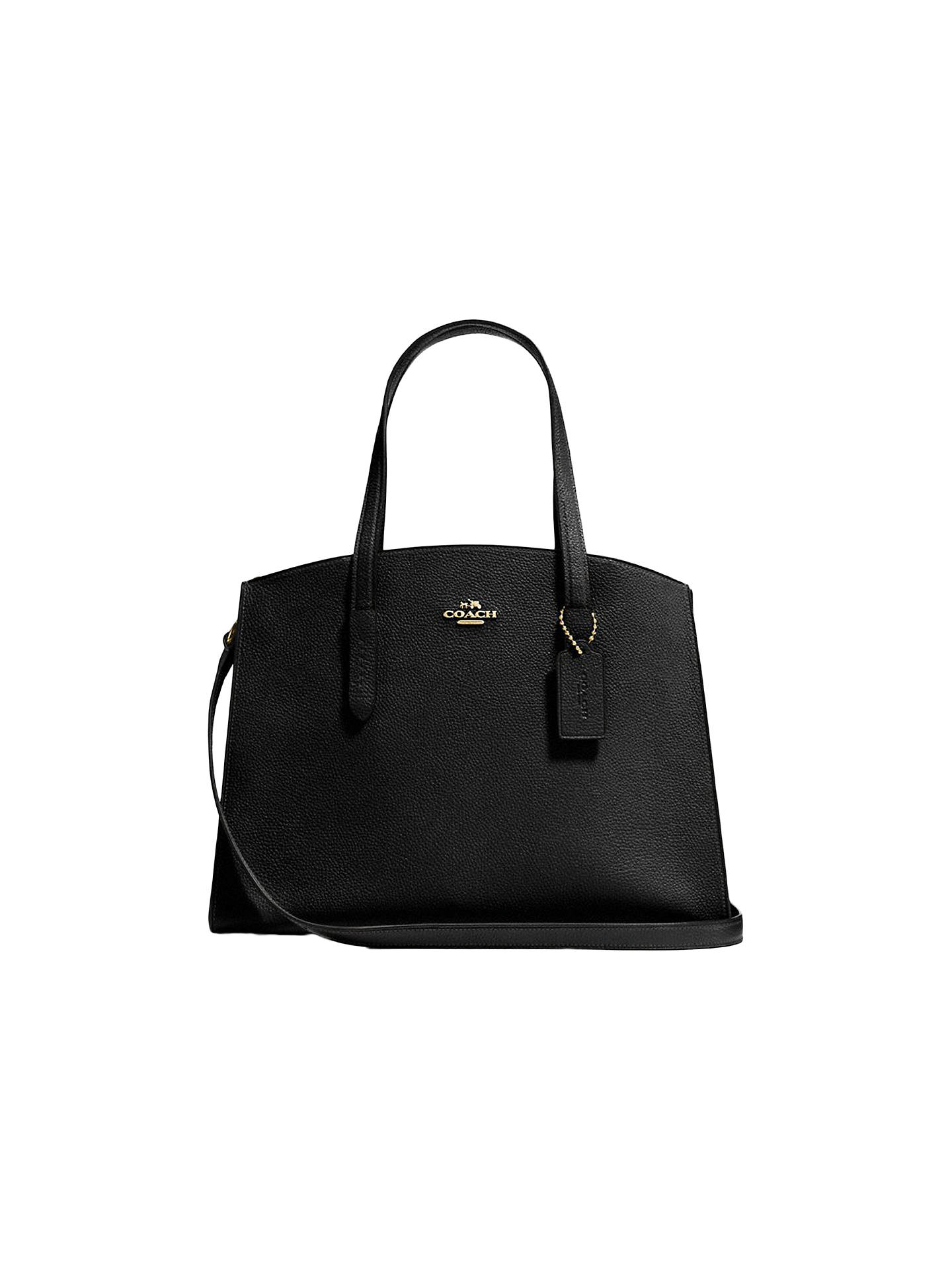 3271105fca3ed0 Buy Coach Charlie Leather Carryall Tote Bag, Black/Yellow Online at  johnlewis.com ...
