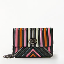Buy Coach Bowery Leather Turnlock Chain Cross Body Bag, Black/Multi Online at johnlewis.com