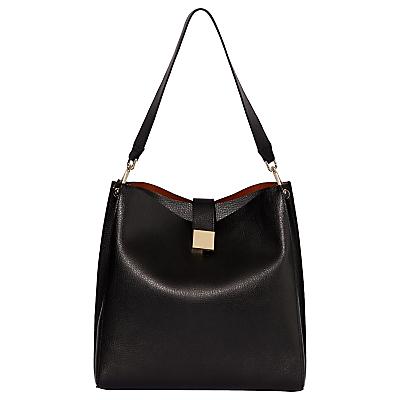 Modalu Megan Leather Large Bucket Bag, Black