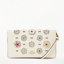 Buy Coach Floral Applique Leather Foldover Cross Body, Chalk Online at johnlewis.com