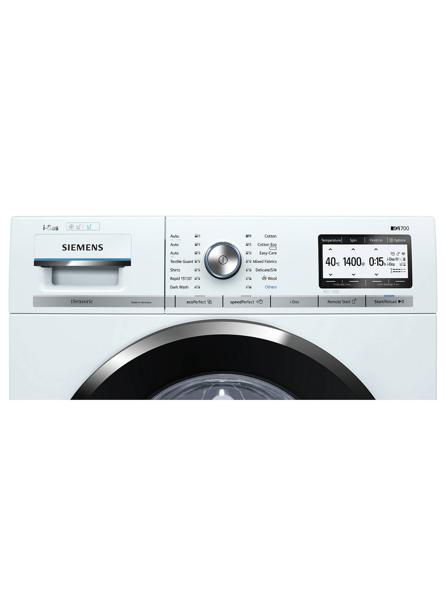 Buy Siemens iQ700 WM14YH89GB Freestanding Washing Machine, 9kg Load, A+++ Energy Rating, 1400rpm Spin, White Online at johnlewis.com