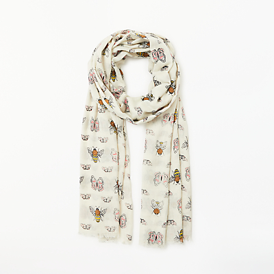 Collection WEEKEND by John Lewis Bees And Butterflies Printed Scarf, Grey Mix