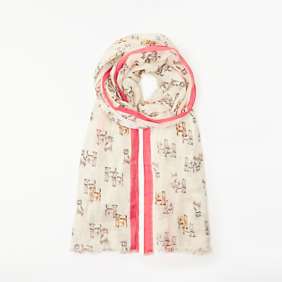Collection WEEKEND by John Lewis Dogs With Moustaches Scarf, Cream Mix