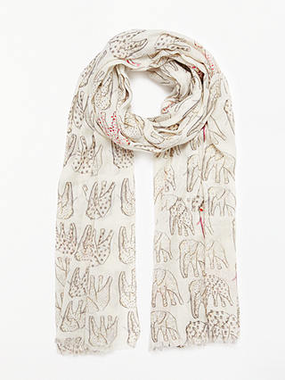 Buy John Lewis & Partners Elephant Print Cotton Scarf, Neutral/Pink Online at johnlewis.com