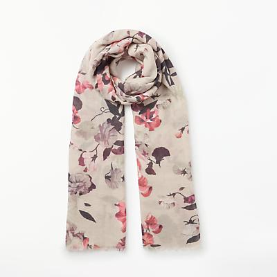 Modern Rarity Confetti Floral Print Wool and Silk Scarf, Cream Mix