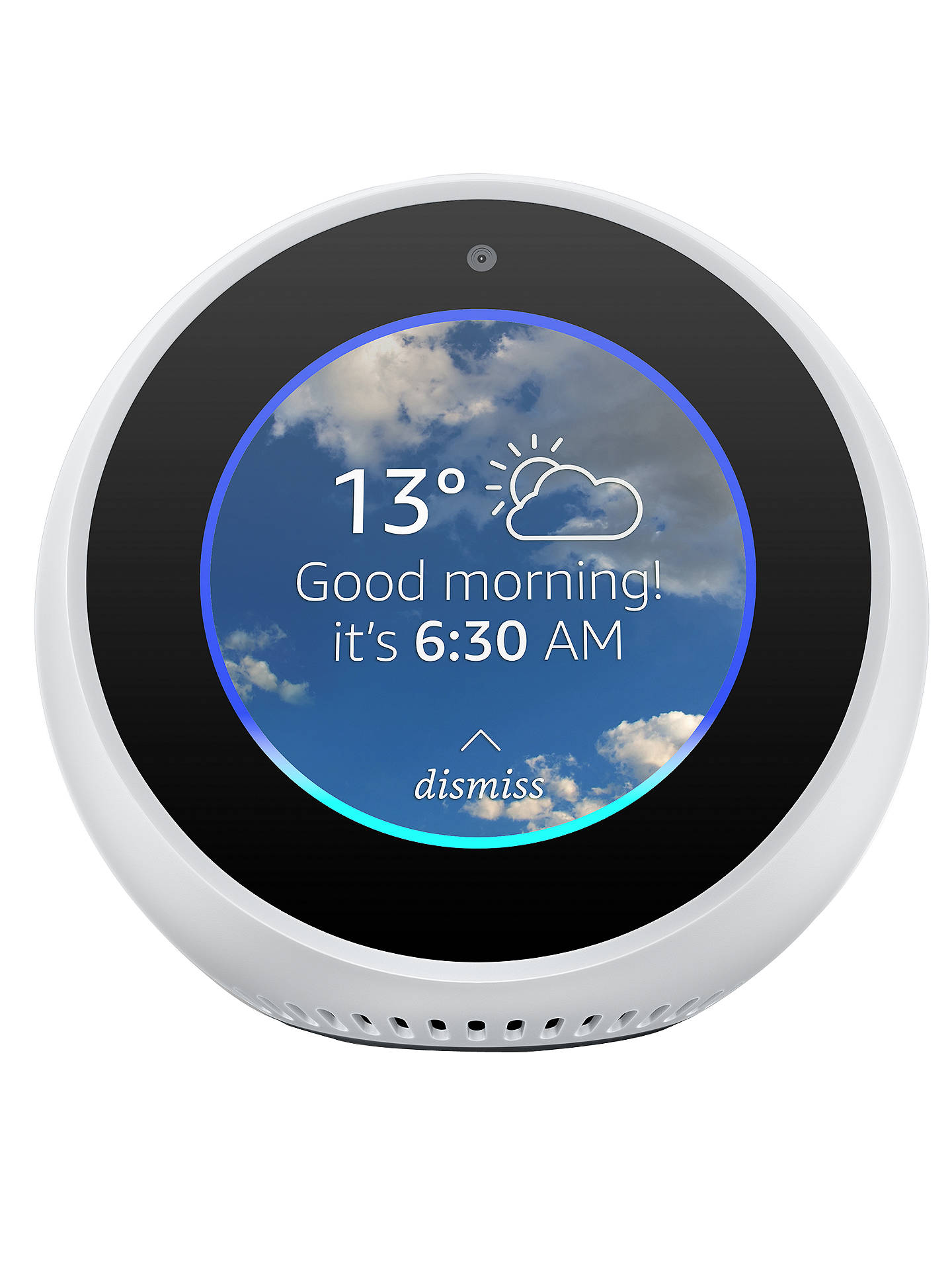 "BuyAmazon Echo Spot Smart Speaker with 2.5"" Screen & Alexa Voice Recognition & Control, White Online at johnlewis.com"