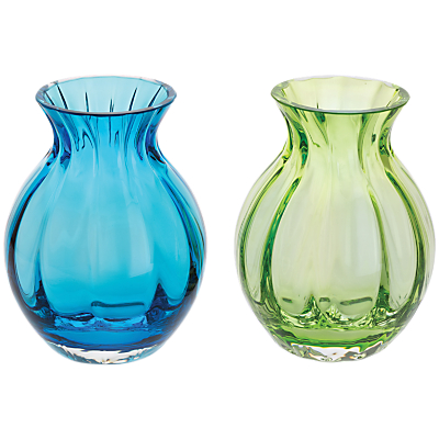 Dartington Crystal Mini Gems Oval Vase, Blue/Green, Pack of 2