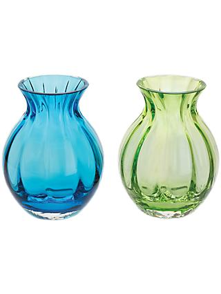 Dartington Crystal Mini Gems Oval Vase, Blue/Green, Pack of 2