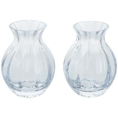 Dartington Crystal Mini Gems Oval Vase, Clear, Pack of 2