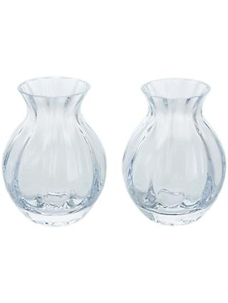 Dartington Crystal Mini Gems Oval Vase, Clear, Pack of 2