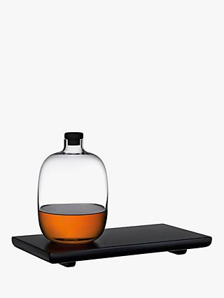 Nude Glass Malt Whisky Bottle with Wooden Tray, Clear/Black