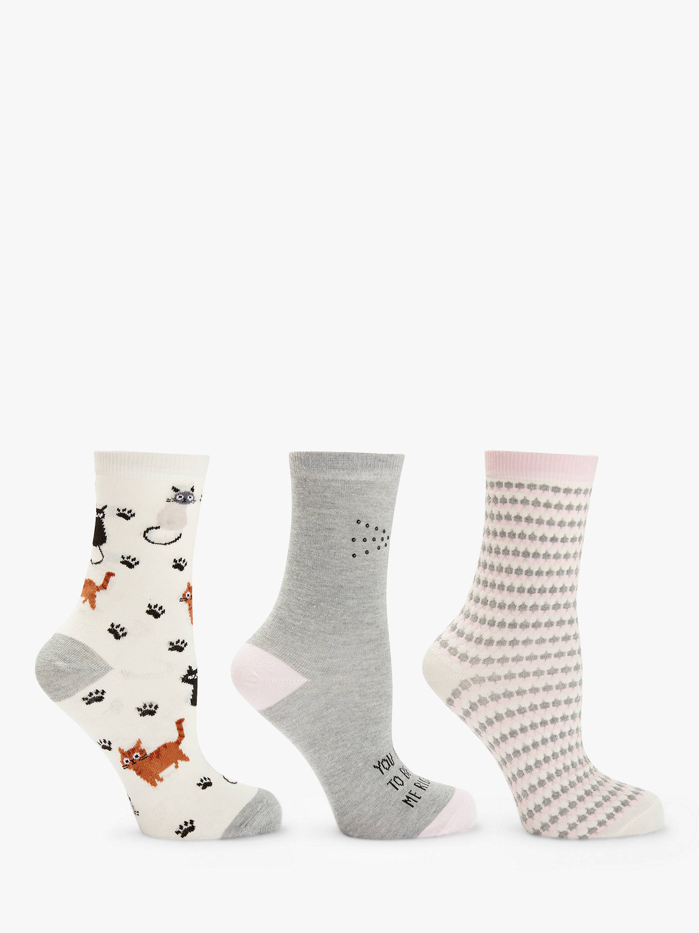 BuyJohn Lewis & Partners Diamante Cat Ankle Socks, Pack of 3, Grey/Pink Online at johnlewis.com