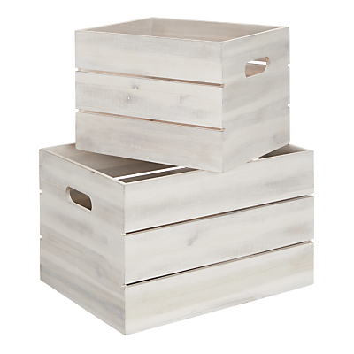 John Lewis & Partners Coastal Storage Crate, White, Set of 2