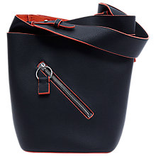 Buy French Connection Orella Bucket Bag, Black/Festival Orange Online at johnlewis.com