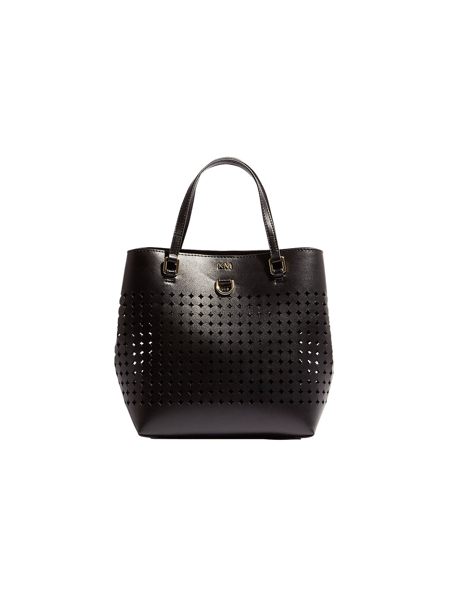 d87645cc5b Buy Karen Millen Perforated Mini Bucket Bag, Black Online at johnlewis.com  ...