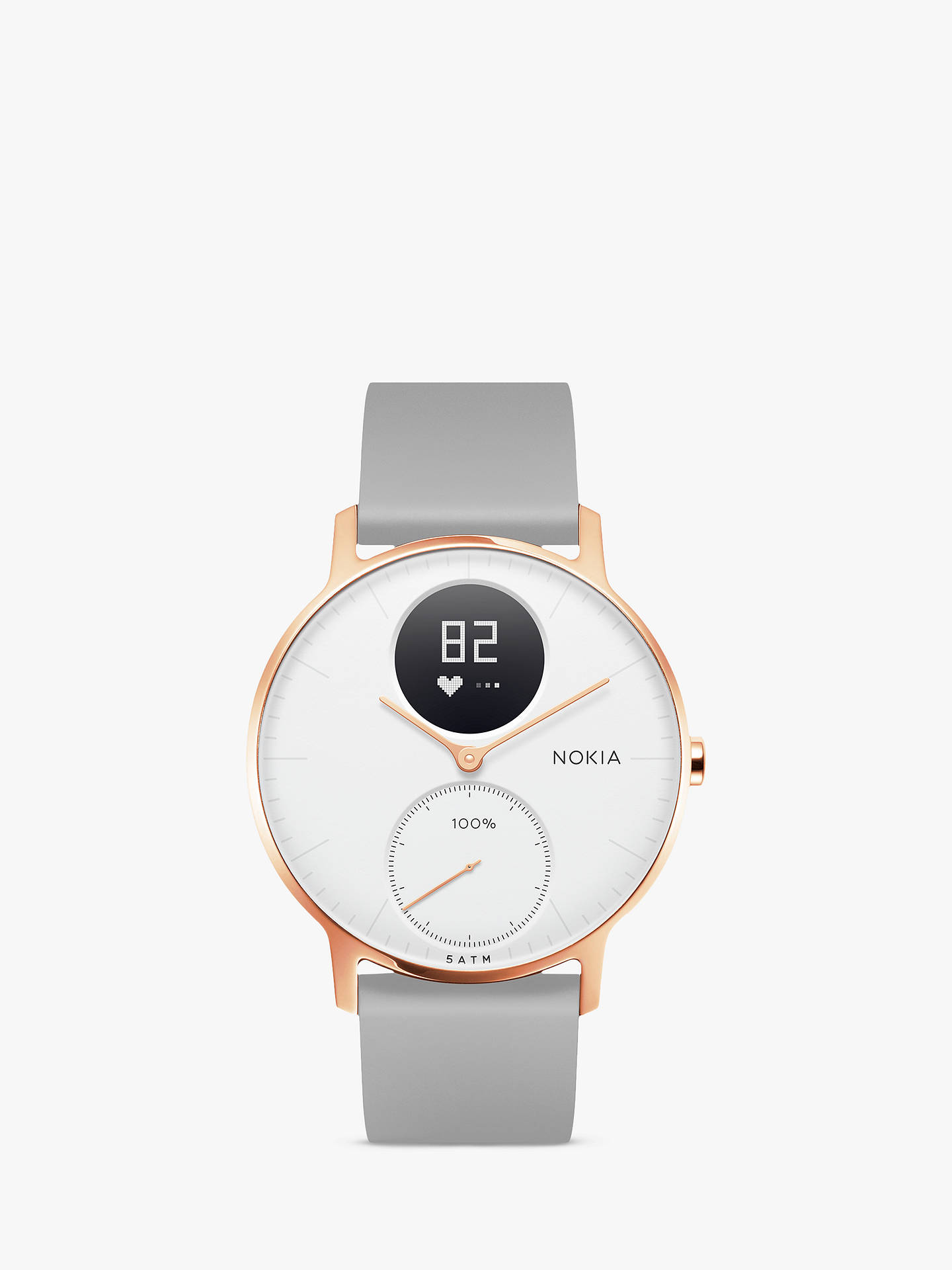 BuyWithings Nokia Steel HR Activity Tracking Watch 36mm Rose Gold Grey Silicone
