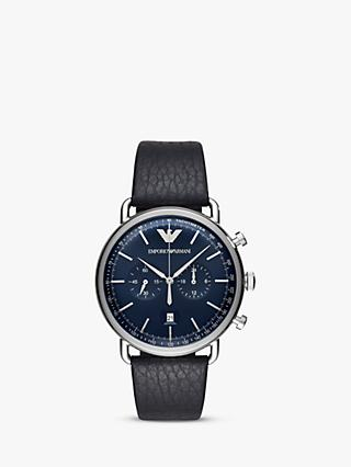Emporio Armani Men's Chronograph Date Leather Strap Watch