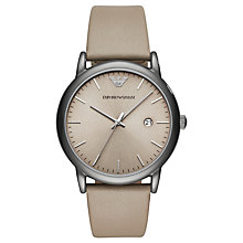 Buy Emporio Armani AR11116 Men's Date Leather Strap Watch, Beige Online at johnlewis.com