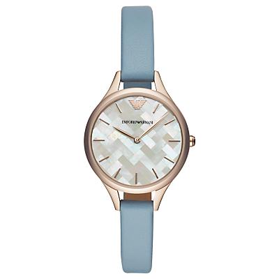 Emporio Armani AR11109 Women's Leather Strap Watch, Pastel Blue/Multi
