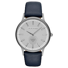 Buy Emporio Armani AR11119 Men's Leather Strap Watch, Navy/Silver Online at johnlewis.com