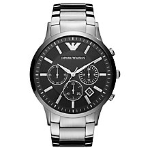 Buy Emporio Armani AR2460 Men's Chronograph Date Bracelet Strap Watch, Silver/Black Online at johnlewis.com