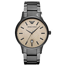 Buy Emporio Armani AR11120 Men's Date Bracelet Strap Watch, Gunmetal/Grey Online at johnlewis.com